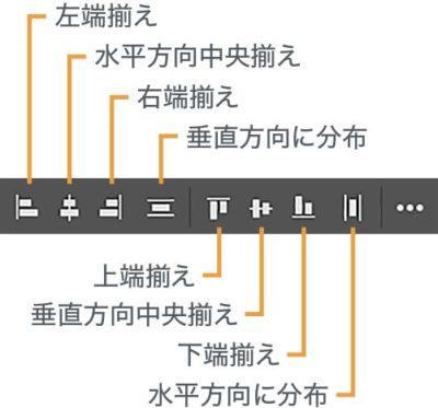 オプションバーの整列の説明