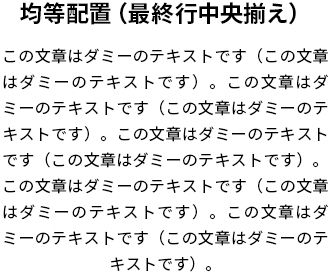 均等配置(最終行中央揃え)の見本