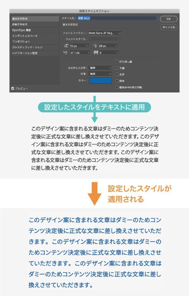 テキストのスタイル設定を適用することでスタイルを変更する方法