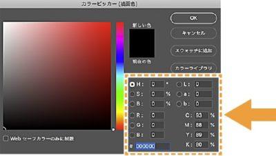カラーピッカーの色の指定方法の選択箇所